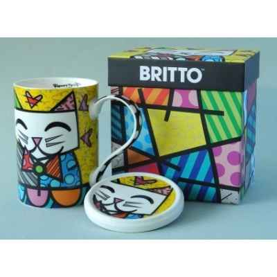 Mug et sa coupelle chat britto romero -b334236