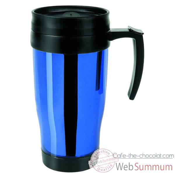 Isostell-CLKK13BL-Tasse colorline 40 cl, double paroi plastique, finition chromee brillante.